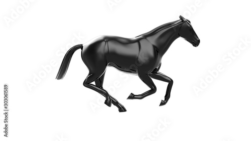 3D Rendering Black horse in running motion, Isolated on white background Fototapete
