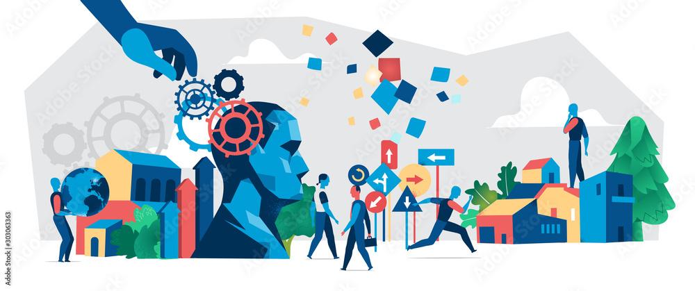 Fototapeta Modern society development. Vector illustration