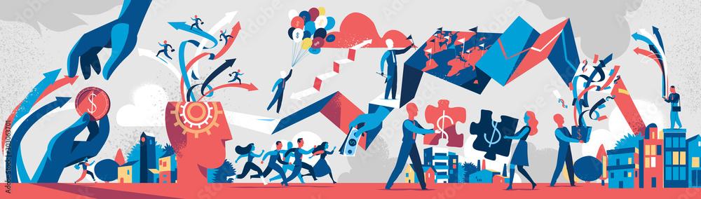 Fototapeta Modern business society processes. Vector illustration