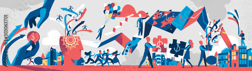 Modern business society processes. Vector illustration - 303063701