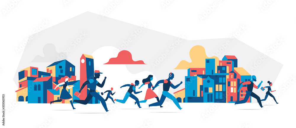 Fototapety, obrazy: People running with city buildings background. Vector illustration isolated on white background