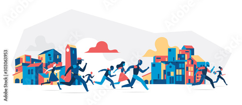 Obraz People running with city buildings background. Vector illustration isolated on white background  - fototapety do salonu