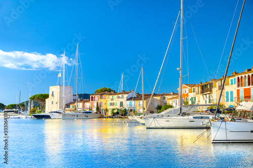 Canvas Prints Ship View Of Colorful Houses And Boats In Port Grimaud During Summer Day-Port Grimaud, France