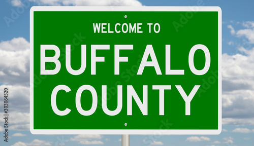 Photo Rendering of a green 3d highway sign for Buffalo County