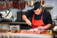 Butcher Boning Fresh Ham In A ...