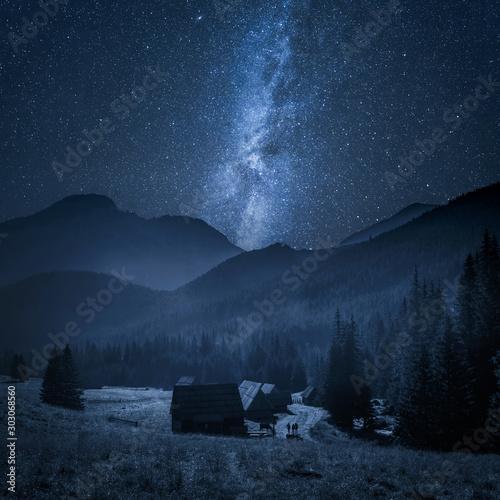 Obraz Chocholowska valley with cottage at night, Tatra Mountains, Poland - fototapety do salonu