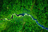 Fototapeta Fototapety z naturą - Amazing blooming algae on green river, aerial view