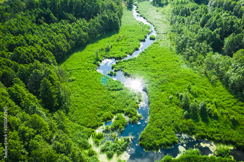 Obraz na płótnie Small winding river and green swamps, aerial view