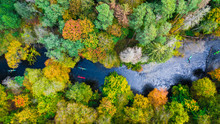 Kayaking On Autumn River In Forest, Aerial View
