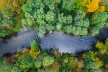 Stunning View To Kayaking On Autumn River, Poland