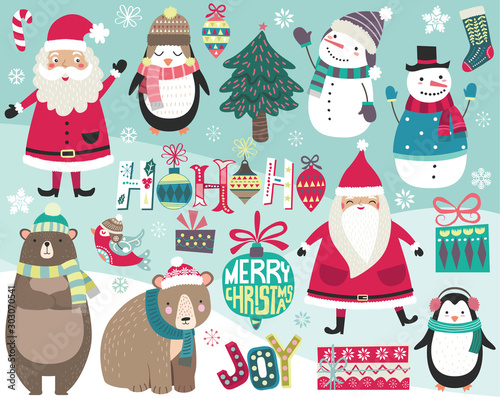 Cute Christmas Digital Art Collections Set Canvas Print