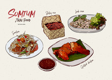 Somtum Collection, Thai Food. Hand Draw Sketch Vector.