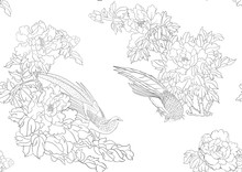 Peony Tree Branch With Flowers With Pheasants In The Style Of Chinese Painting On Silk Seamless Pattern, Background. Outline Hand Drawing Vector Illustration..