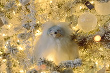Closeup Of White Bauble Hangin...