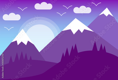 Foto auf Leinwand Violett Landscape Banner with mountains, vector image in flat design style