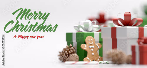 Recess Fitting Asia Country Christmas background with ornament and light atmosphere