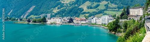 Switzerland, Panoramic view on Brunnen city Canvas Print