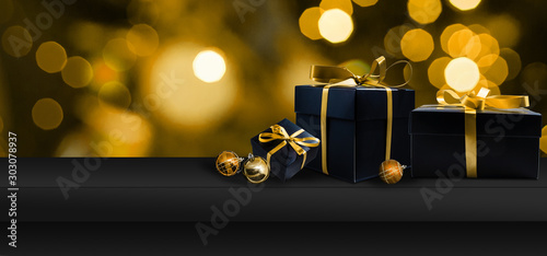 Obraz Black Friday Super Sale. Shelf and podium with realistic black gifts boxes with gold bows. Dark background golden text lettering. Horizontal banner, poster, header website - fototapety do salonu
