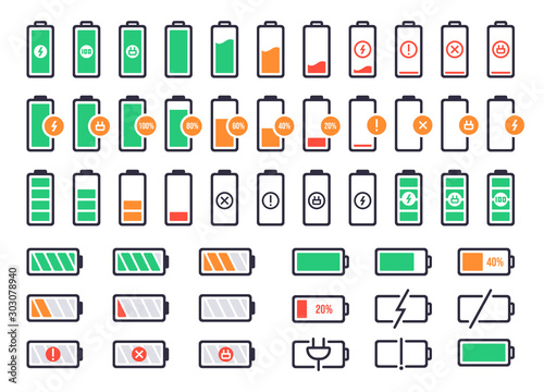 Obraz Battery charging logo. Charge power level, smartphone accumulator energy status. Cell phone battery signal indicators vector isolated icons set. Collection of device charge process icons - fototapety do salonu