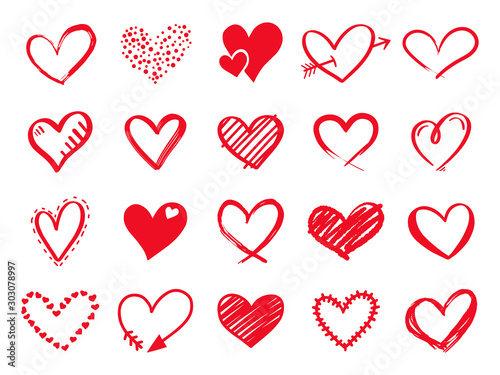 Fototapeta Hand drawn scribble hearts. Painted heart shaped elements for valentines day greeting card. Doodle red love hearts isolated vector icons set. Romantic sticker pack. Dotted and brush hearts obraz