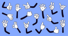 Cartoon Gloved Arms. Comic Hands In Gloves, Retro Doodle Arms With Different Gestures Vector Isolated Illustration Icons Set. Showing Numbers, Pointing With Finger. Rock Sign, Thumb Up, High Five