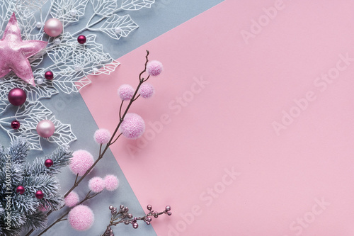 Christmas flat lay in two color paper background, pink and silver, and copy-space Canvas Print