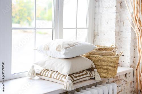Windowsill with light pillows Fototapet