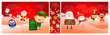 Collage Of Merry Christmas Greeting Card. Holiday Concept