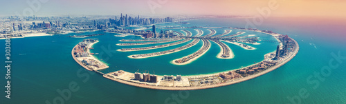 Aerial view on Palm Jumeira island in Dubai, UAE, on a summer day Wallpaper Mural