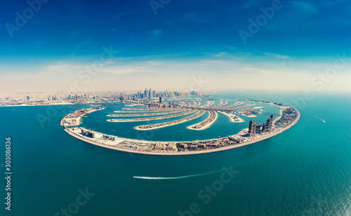 Fotografie, Obraz Aerial view on Palm Jumeira island in Dubai, UAE, on a summer day
