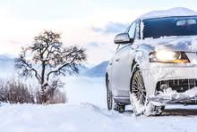 Luxury Car In Winter On Snowy ...