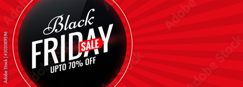 Fototapeta black friday red sale banner with text space obraz