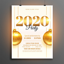 White 2020 New Year Party Celebration Design Template