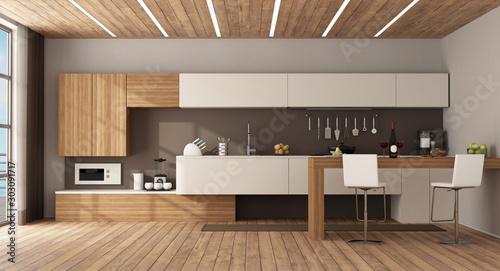 Fotografie, Obraz Minimalist kitchen with peninsula and stools