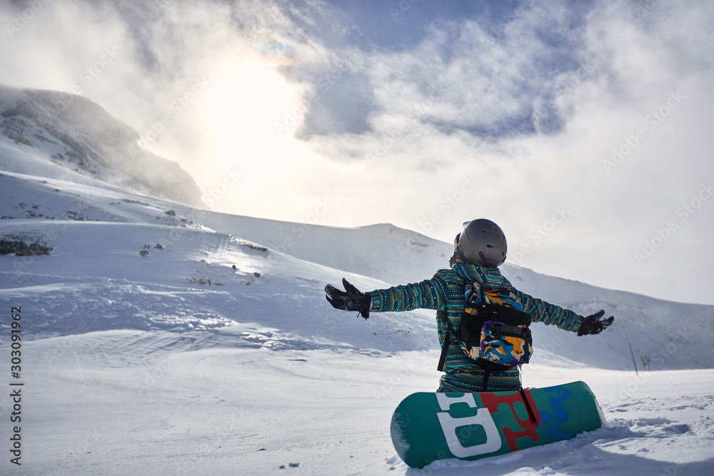 Fototapety, obrazy: Happy Snowboarder with snowboard, winter at the mountain
