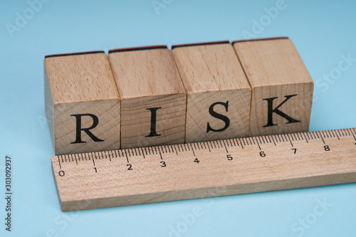 Risk Word On Wooden Blocks Behind The Ruler Canvas Print