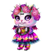 Magic Cat In A Witch Costume W...