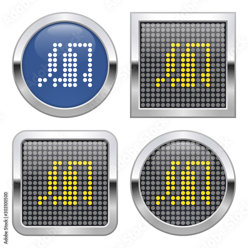 Dotted icon of gas-distribution station on glossy button in four variants Canvas Print