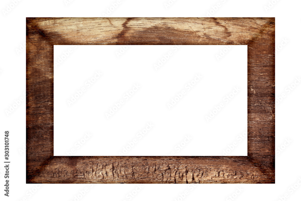 Fototapety, obrazy: old wood frame classic isolated on white background.