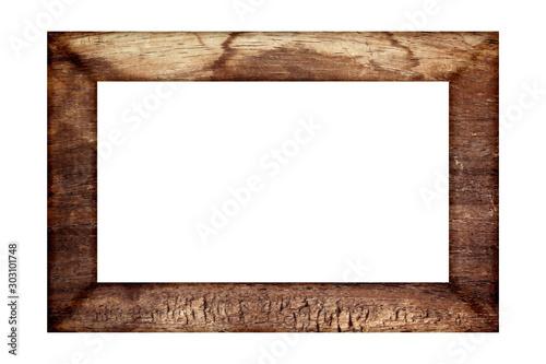 Canvastavla  old wood frame classic isolated on white background.