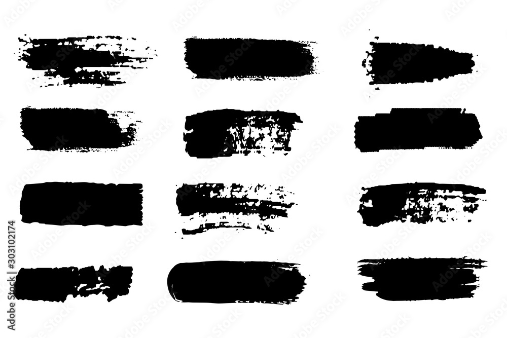 Fototapeta Collection of paint strokes vector. Grunge abstract hand painted element. Black and white strokes with a brush.