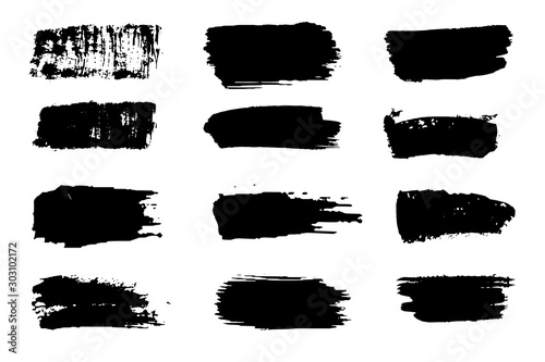 Fototapety, obrazy: Collection of paint strokes vector. Grunge abstract hand painted element. Black and white strokes with a brush.