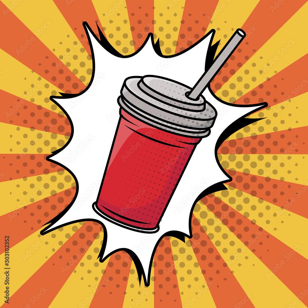 Fototapeta soda in plastic pot pop art style