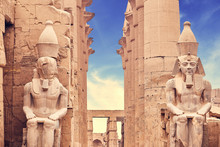 Luxor Temple Ramses Statues. Statues At The Temple Of Amun-Ra At Luxor. Egypt.