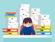 Business Woman Working At Desk. Pile Of Paper, Busy Businesswoman With Stack Of Documents In Carton, Cardboard Box, Help Sign. Paperwork. Bureaucracy Concept. Stressed Employee. Vector Cartoon Design