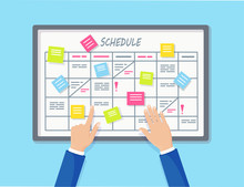 Planning Schedule On Task Board Concept. Planner, Calendar On Whiteboard. List Of Event For Employee. Teamwork, Collaboration, Business Time Management Concept. Vector Flat Design
