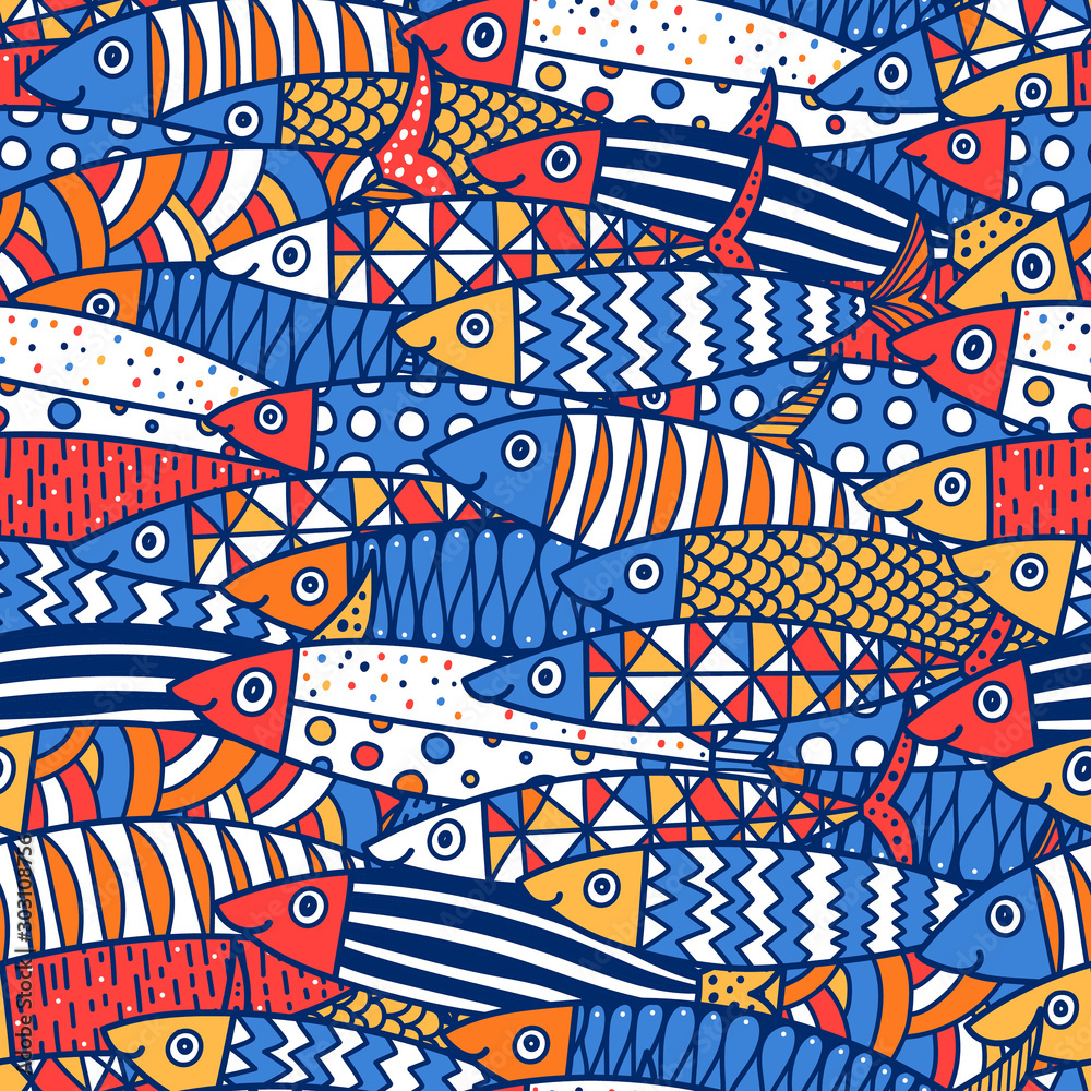 Fototapety, obrazy: Cute fish.  Kids lbackground. Seamless pattern. Can be used in textile industry, paper, background, scrapbooking.