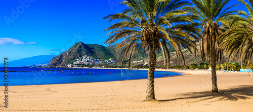 Beautiful beaches of Tenerife - Las Teresitas (near Santa Cruz). Canary islands