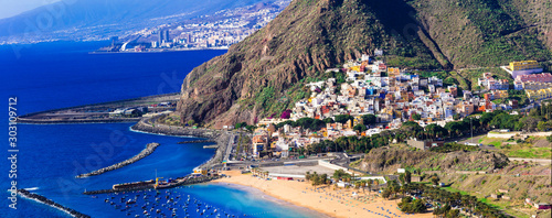 Tenerife - holidays in Canary islands. Beautiful view of las Teresitas beach