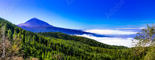 Foto auf AluDibond Dunkelblau View of famous volcano Teide. Tenerife. Canary islands of Spain